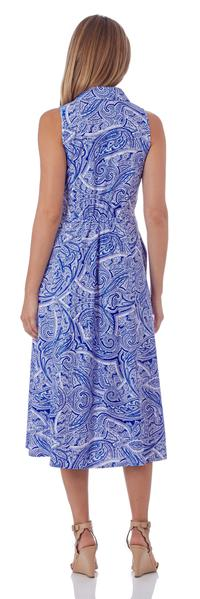Jude Connally Ashlyn Midi Dress in Tonal Paisley Sapphire