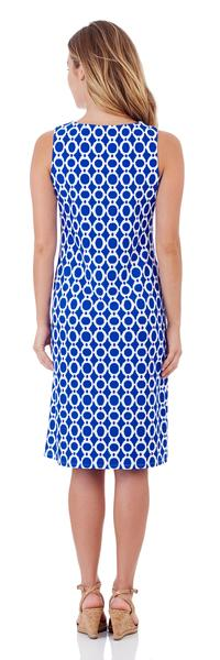 Jude Connally Beth Shift Dress in Circle Ikat Blue - LONG - FINAL SALE