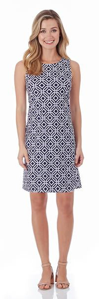 Jude Connally Beth Shift Dress in Grand Links Navy - FINAL SALE