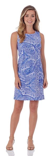 Jude Connally Beth Shift Dress in Tonal Paisley Sapphire - FINAL SALE