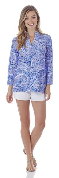 Jude Connally Chris Tunic Top in Tonal Paisley Sapphire - FINAL SALE - Saratoga Saddlery & International Boutiques
