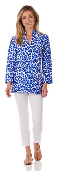 Jude Connally Chris Tunic Top in Leopard Cobalt