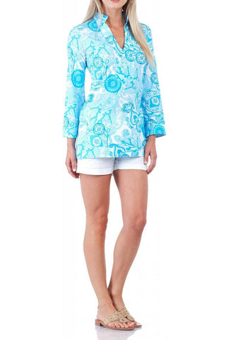 Jude Connally Chris Tunic in Kaleidoscope Geo Harbor Blue