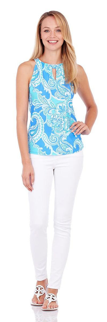 Jude Connally Claire Top in Paisley Maxi Soft Blue