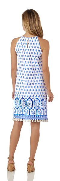 Jude Connally Corinne Dress in Summer Foulard White Blue SALE!