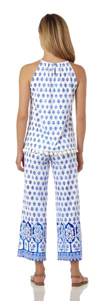 Jude Connally Daphne Top in Summer Foulard White Blue - Saratoga Saddlery & International Boutiques