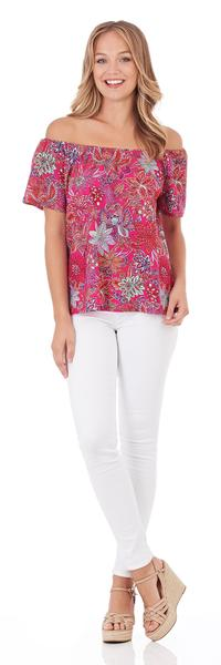 Jude Connally Emilia Off-the-Shoulder Top in Botanical Floral Fuchsia - FINAL SALE