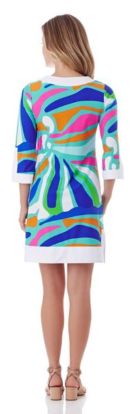 Jude Connally Holly Tunic Dress in Ocean Abstract Aqua - FINAL SALE