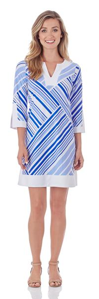 Jude Connally Holly Tunic Dress in Patchwork Stripe Sapphire