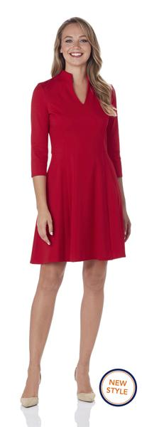 Jude Connally Kennedy Ponte Fit and Flare Dress in Red