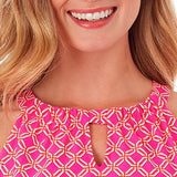 Jude Connally Lisa Keyhole Dress in Linked Lattice Pink - FINAL SALE