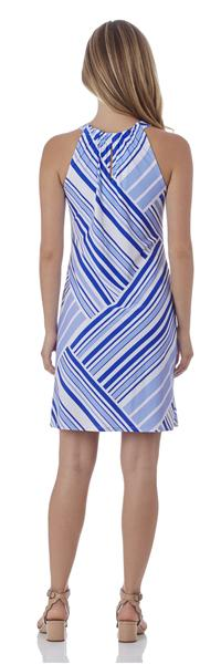 Jude Connally Lisa Keyhole Dress in Patchwork Stripe Sapphire - FINAL SALE
