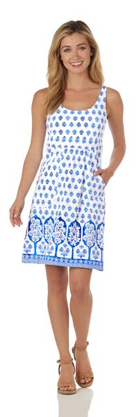 Jude Connally Lucy Dress in Summer Foulard White Blue - Saratoga Saddlery & International Boutiques