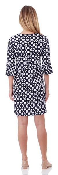 Jude Connally Margot Shift Dress in Circle Ikat Navy