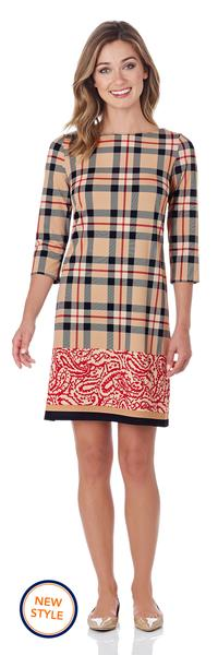 Jude Connally Marlowe Shift Dress in Tartan Border Camel