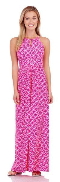 Jude Connally Mia Maxi Dress in Star Lattice Hot Pink - FINAL SALE