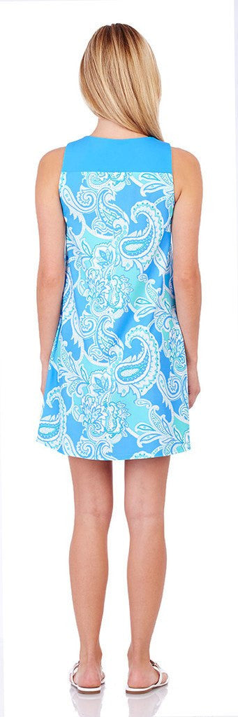 Jude Connally Molly Dress in Paisley Maxi Soft Blue - FINAL SALE - Saratoga Saddlery & International Boutiques