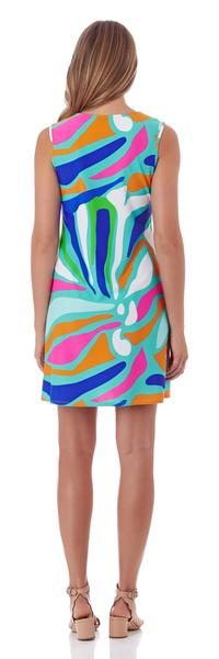 Jude Connally Nadine Shift Dress in Ocean Abstract Aqua - FINAL SALE