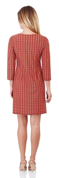 Jude Connally Sabine Dress in Crossed Links Red - FINAL SALE