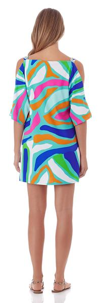 Jude Connally Sage Open-Shoulder Dress in Ocean Abstract Aqua - FINAL SALE