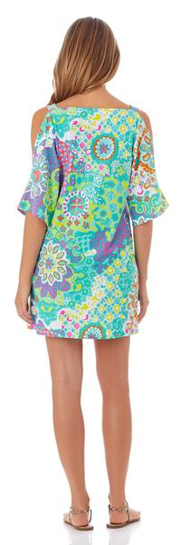 Jude Connally Sage Open-Shoulder Dress in Sun Drenched Tiles Aqua