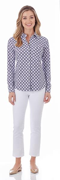 Jude Connally Taylor Shirt in Linked Lattice White Navy