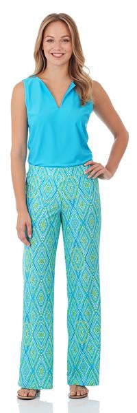 Jude Connally Trixie Wide Leg Pant in Painted Diamonds Turquoise
