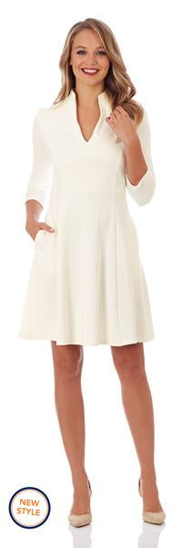 Jude Connally Kennedy Ponte Fit and Flare Dress in Cream