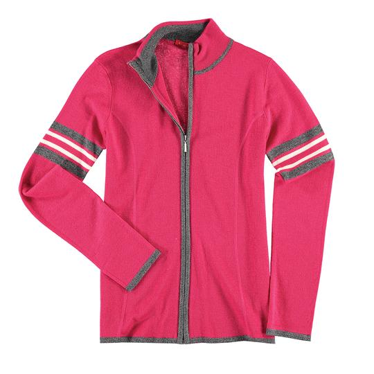 Krimson Klover Bette Full Zip Sweater in Fuchsia