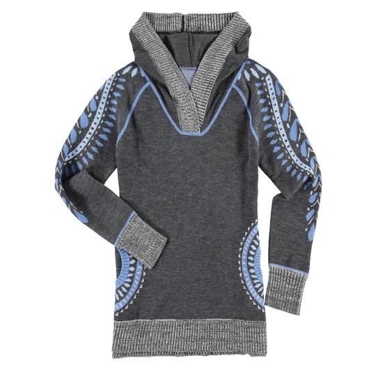 Krimson Klover Conifer Hooded Tunic Sweater in Mid Grey