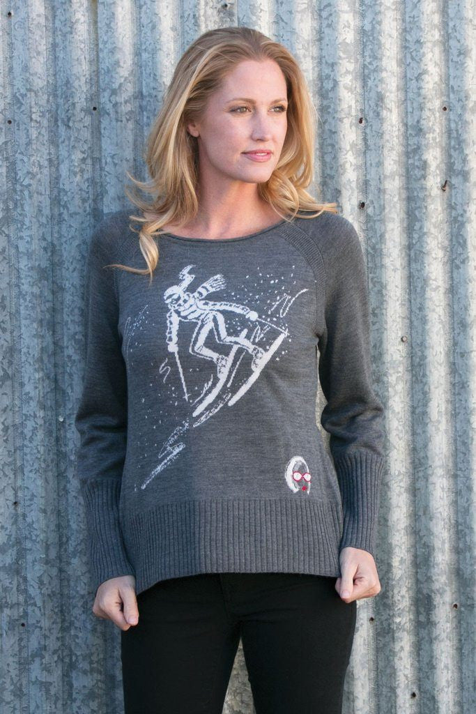 Krimson Klover Free Rider Relaxed Fit Sweater in Mid Grey - Saratoga Saddlery & International Boutiques