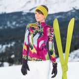 ski fun base layer Krimson Klover Watercolor Hand Painted Top in Rhubarb
