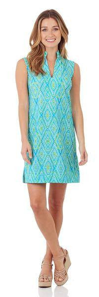 Jude Connally Kristen Tunic Dress in Painted Diamonds Turquoise - FINAL SALE - Saratoga Saddlery & International Boutiques