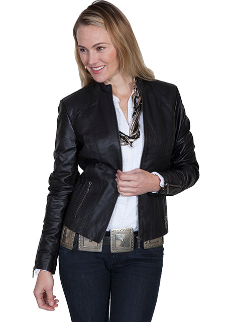 Scully Women's Leather Jacket in Black Lamb L331 - Saratoga Saddlery & International Boutiques