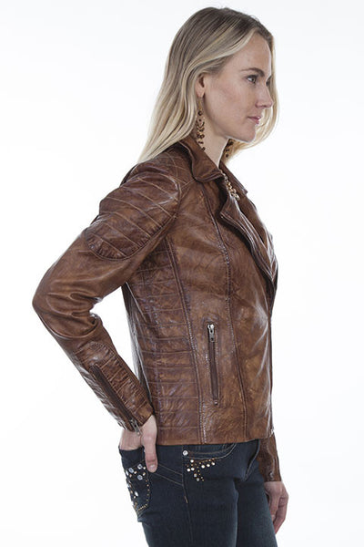 795c9b686 Scully Womens Distressed Sanded Leather Jacket in Brown