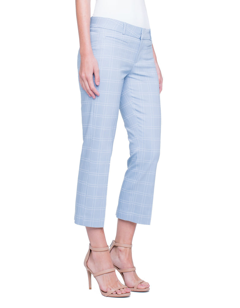 Liverpool Vera Cropped Trousers in Dusty Blue Pixel - Saratoga Saddlery & International Boutiques
