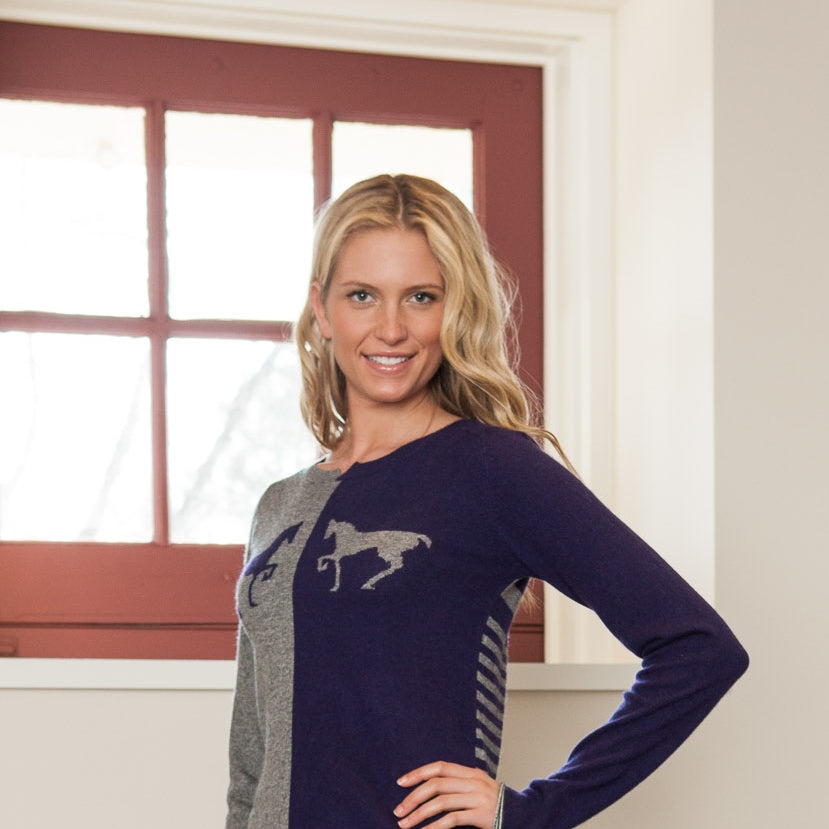 IsleField Madison Trott Cashmere Sweater in Silver & Carrot