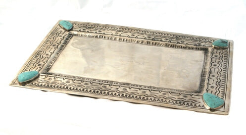 J. Alexander Handmade Rustic Silver Large Stamped Tray with Turquoise
