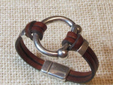 Lilly's Allure Silver Bit Bracelet - Dark Brown Leather