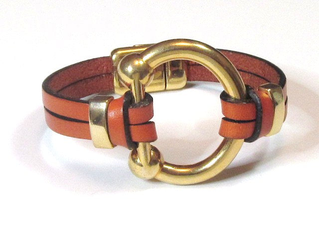 Lilly's Allure Gold Bit Bracelet - Cognac Leather