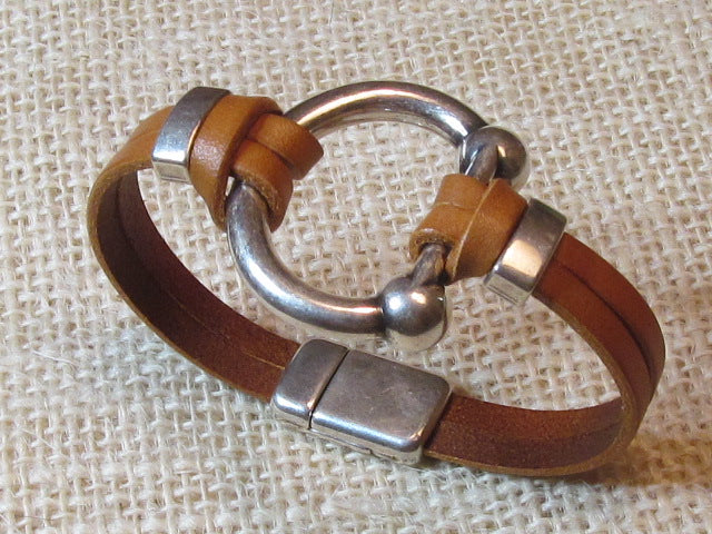Lilly's Allure Silver Bit Bracelet - Saddle (Light) Brown Leather