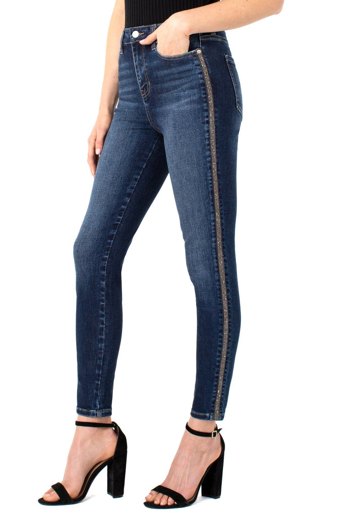 Liverpool ABBY HI-RISE Ankle Jean in denim Color SKINNY WITH NOVELTY TAPE - Saratoga Saddlery & International Boutiques