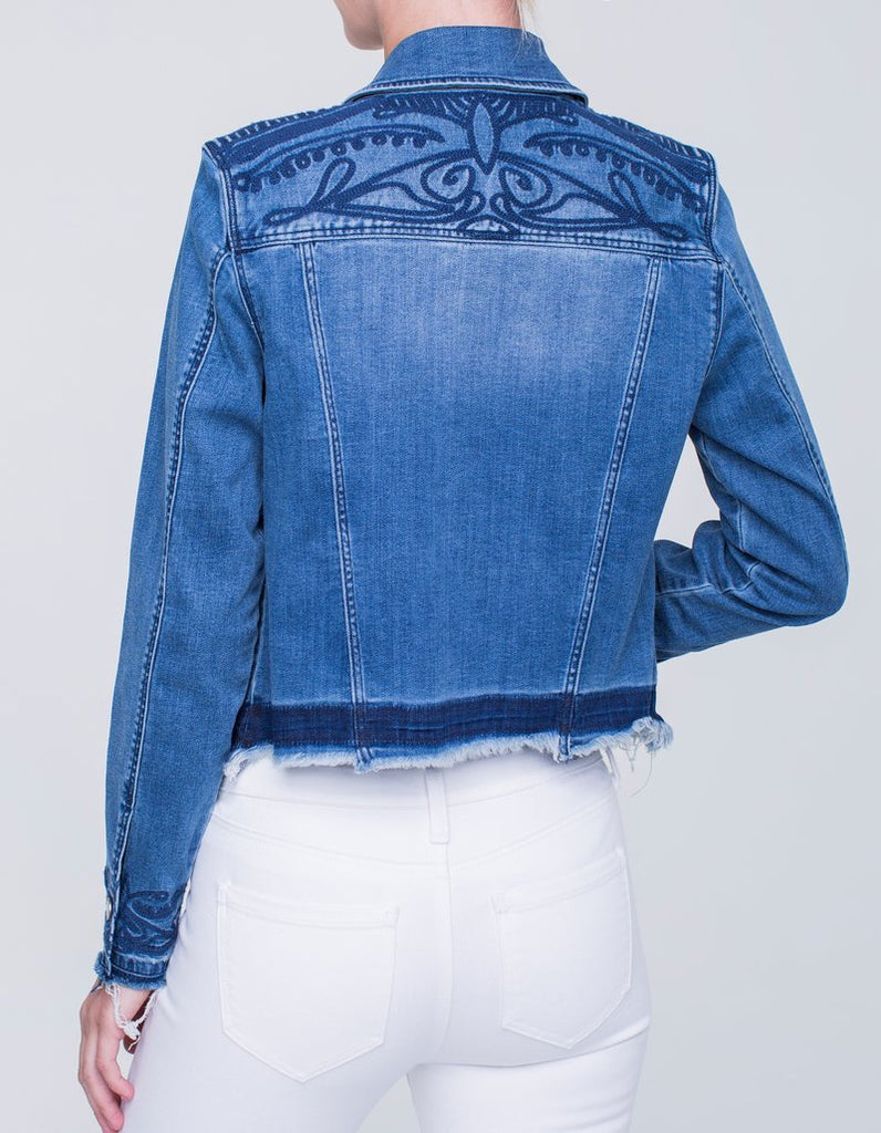 Liverpool Jeans Embroidered Denim Jacket in Melbourne Light