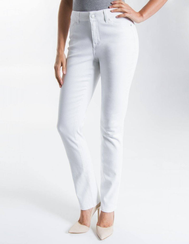 Liverpool Jeans Company Sadie Straight Leg Jeans in Bright White - Saratoga Saddlery & International Boutiques