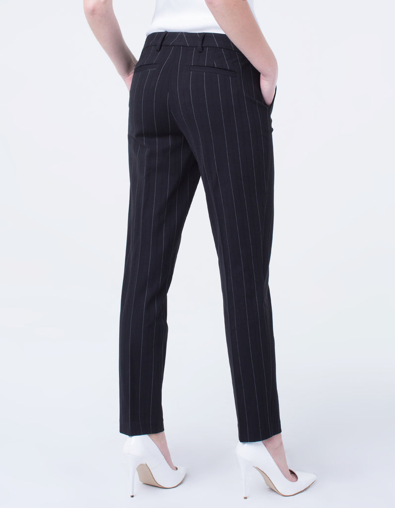 Liverpool Kelsey Straight Leg Trouser in Black White Wide Stripe