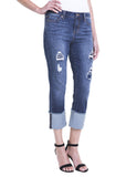 Liverpool Jeans Morgan Wide Cuff Crop Capri in Chapman Wash