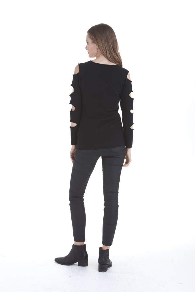 Love Token Gabby Ladder Sleeve Sweater in Black