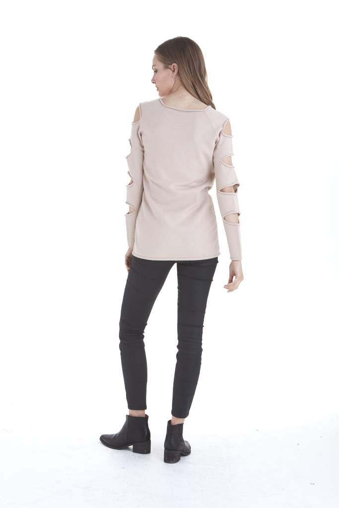 Love Token Gabby Ladder Sleeve Sweater in Oatmeal