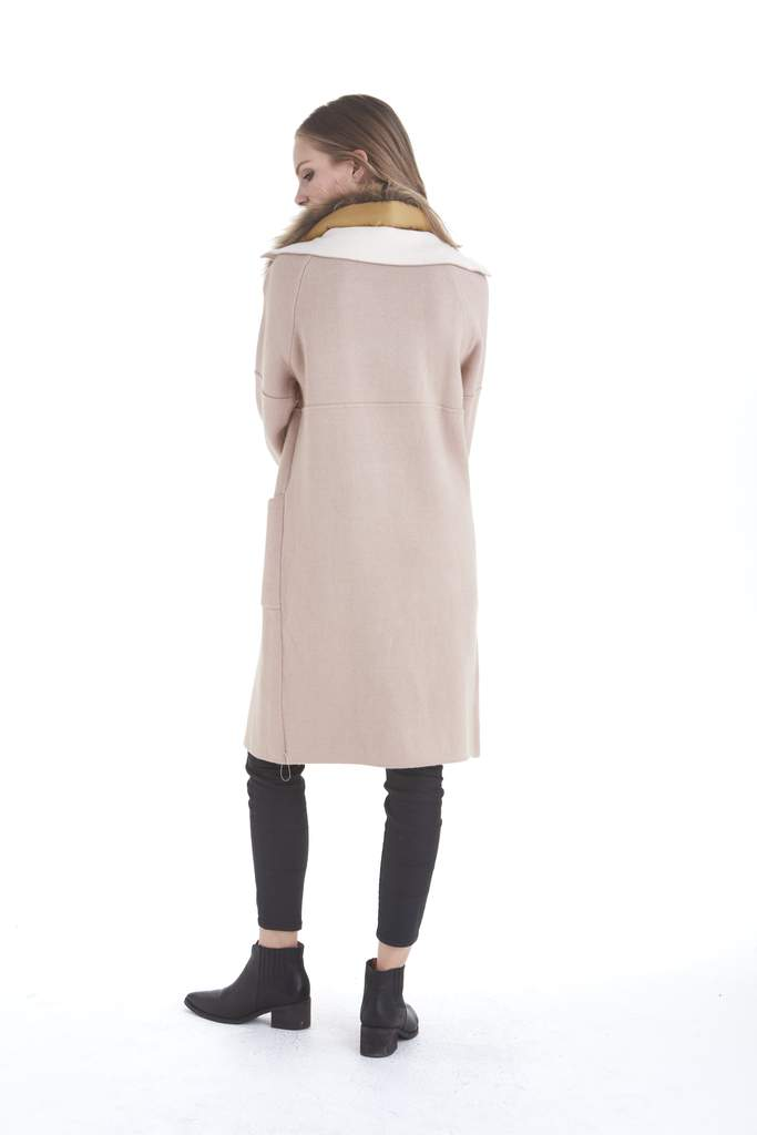 Love Token Isla Fur Collar Jacket in Blush