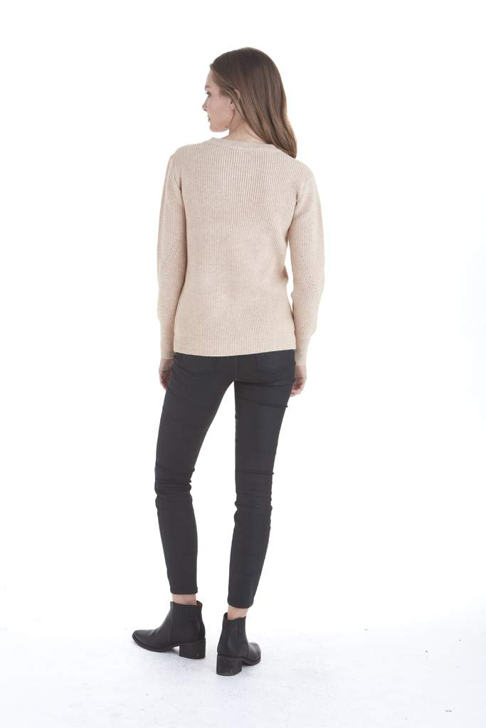 Love Token Liliana Lace Up Sweater in Oatmeal
